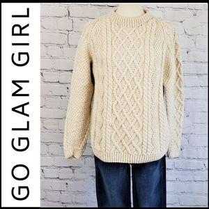 HAND KNIT PREMIUM MERINO WOOL Cable Knit Sweater M